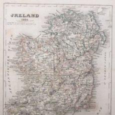 Arte: MAPA ANTIGUO IRLANDA 1848 - GRABADO COLOREADO A MANO. Lote 136244022