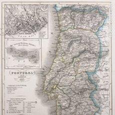 Arte: MAPA ANTIGUO PORTUGAL 1847 - GRABADO COLOREADO A MANO. Lote 136244126