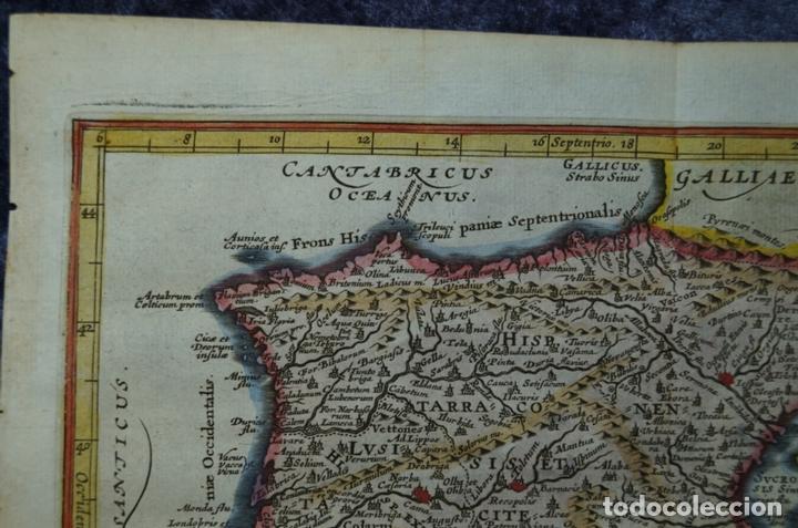 Arte: Mapa de España y Portugal antiguos, 1676. Kaerius/ Cluver/ Jansonius - Foto 2 - 136409518