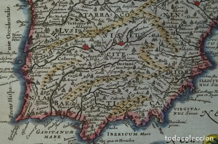 Arte: Mapa de España y Portugal antiguos, 1676. Kaerius/ Cluver/ Jansonius - Foto 6 - 136409518