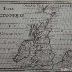 Arte: MAPA DE IRLANDA Y REINO UNIDO (EUROPA), 1738. BOSSUET. Lote 136412094