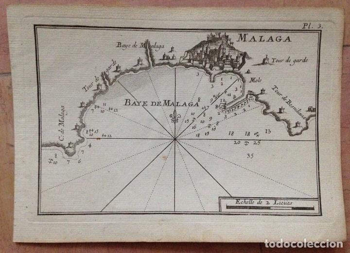 MAPA DE LA BAHÍA DE MÁLAGA (ESPAÑA), CIRCA 1764. ROUX (Arte - Cartografía Antigua (hasta S. XIX))