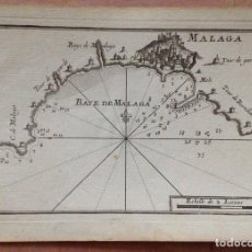 Arte: MAPA DE LA BAHÍA DE MÁLAGA (ESPAÑA), CIRCA 1764. ROUX. Lote 136517122