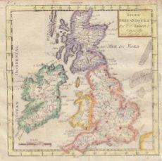 Arte: MAPA DE LAS ISLAS BRITÁNICAS, 1782. ROBERT VAUGONDY. Lote 136638890