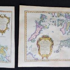Arte: ISLAS FILIPINAS, 2 MAPAS N. BELLIN, 1746 (1750), CARTE DES ISLES PHILIPPINES 1RE. & 2E. FEUILLE. Lote 136809754