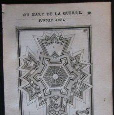 Arte: PLANO DE LA PLANTA Y VISTA DE LA FORTALEZA DE ALMADA, SETÚB (PORTUGAL, EUROPA), 1685. MALLET/THIERRY. Lote 137120162