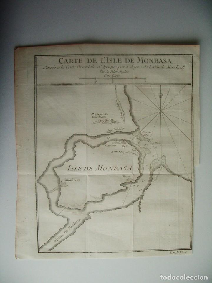 1750- ISLA DE MOMBASA.MONBASA. TUACA. KENIA. AFRICA. MAPA. PLANO. ORIGINAL (Arte - Cartografía Antigua (hasta S. XIX))