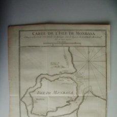 Arte: 1750- ISLA DE MOMBASA.MONBASA. TUACA. KENIA. AFRICA. MAPA. PLANO. ORIGINAL. Lote 137158294