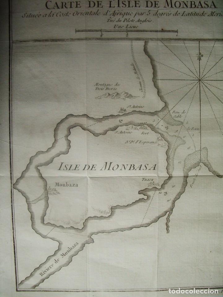 Arte: 1750- ISLA DE MOMBASA.MONBASA. TUACA. KENIA. AFRICA. MAPA. PLANO. ORIGINAL - Foto 2 - 137158294