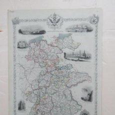 Arte: PRECIOSO MAPA DEL SUR DE ALEMANIA CON SUS MONUMENTOS CARTOGRAFIA POR JOHN.RAPKIN, ALREDEDOR DE 1850. Lote 137496906