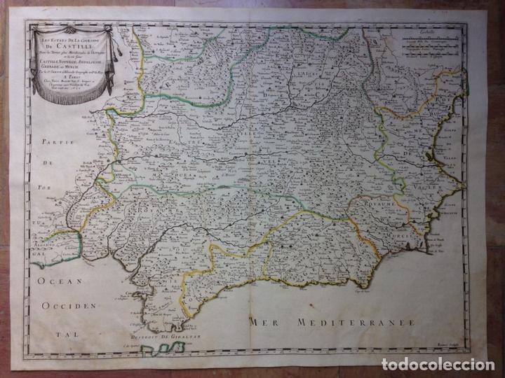 GRAN MAPA DE ANDALUCÍA, MURCIA, VALENCIA, CASTILLA..(ESPAÑA),1652. NICOLÁS SANSON/MARIETTE (Arte - Cartografía Antigua (hasta S. XIX))