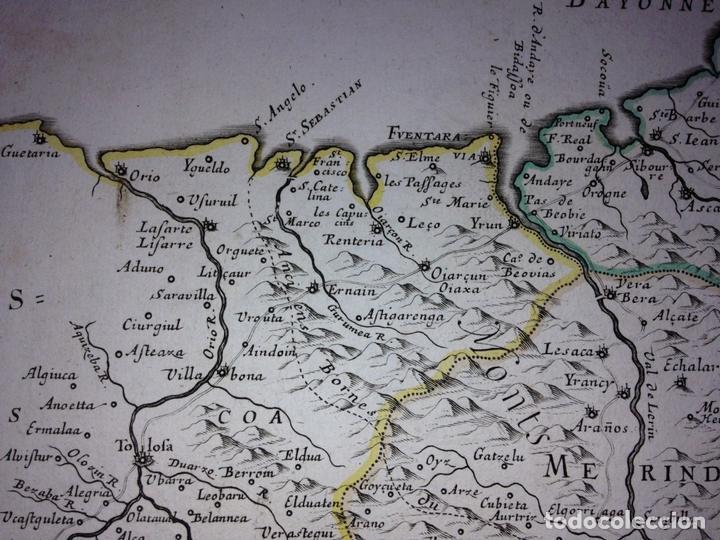 Arte: Gran mapa del Reino de Navarra y Guipúzcoa, Pais Vasco (España), 1652. Nicolás Sanson/Mariette - Foto 6 - 137807398