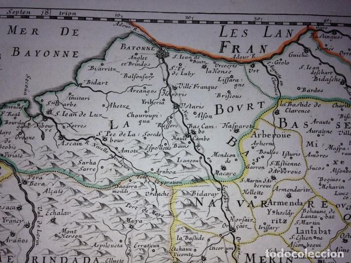 Arte: Gran mapa del Reino de Navarra y Guipúzcoa, Pais Vasco (España), 1652. Nicolás Sanson/Mariette - Foto 7 - 137807398
