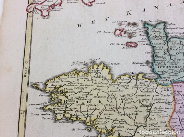Arte: Gran mapa del norte de Francia (Europa), 1757. Isaak Tirion - Foto 3 - 138674522