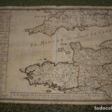 Arte: GRAN MAPA DEL CANAL DE LA MANCHA (FRANCIA Y REINO UNIDO, EUROPA), 1670. DUVAL. Lote 138674778