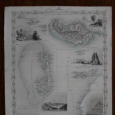 Arte: MAPA DE LAS ISLAS DEL ATLÁNTICO (CANARIAS, MADEIRA, AZORES,..EUROPA, 1850. TALLIS/RAPKIN. Lote 138675686