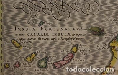 Arte: Mapa de Marruecos (África), islas Canarias (España) y Madeira (Portugal), 1620. Hondius/Mercator - Foto 5 - 138676626