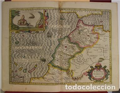 Arte: Mapa de Marruecos (África), islas Canarias (España) y Madeira (Portugal), 1620. Hondius/Mercator - Foto 6 - 138676626