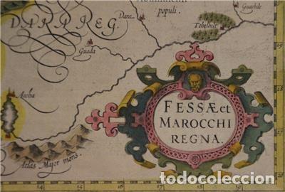 Arte: Mapa de Marruecos (África), islas Canarias (España) y Madeira (Portugal), 1620. Hondius/Mercator - Foto 7 - 138676626