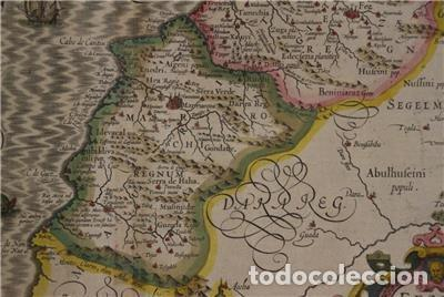 Arte: Mapa de Marruecos (África), islas Canarias (España) y Madeira (Portugal), 1620. Hondius/Mercator - Foto 9 - 138676626
