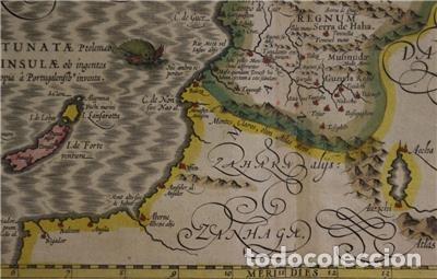 Arte: Mapa de Marruecos (África), islas Canarias (España) y Madeira (Portugal), 1620. Hondius/Mercator - Foto 10 - 138676626
