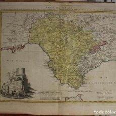 Arte: GRAN MAPA DE SEVILLA, HUELVA, CÁDIZ Y MÁLAGA (ANDALUCÍA, ESPAÑA), 1781. HOMANN. Lote 138776630