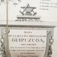 Arte: MAPA DE GUIPUZCOA (PAÍS VASCO), 1770.TOMÁS LÓPEZ. SAN SEBASTÍAN, BERGARA,MONDRAGÓN,GUETARIA,RENTERÍA. Lote 139394050