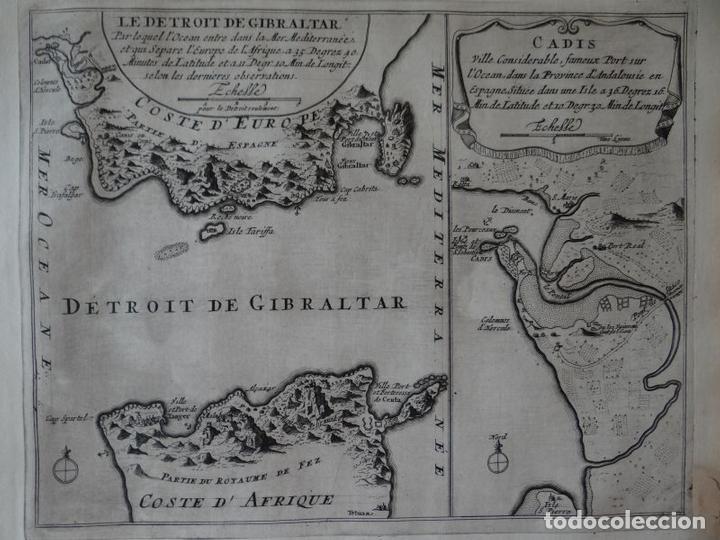 MAPA DEL ESTRECHO DE GIBRALTAR Y LA BAHÍA DE CÁDIZ (ESPAÑA). 1696. NICOLÁS DE FER (Arte - Cartografía Antigua (hasta S. XIX))