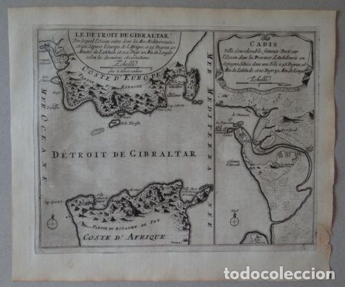 Arte: Mapa del Estrecho de Gibraltar y la Bahía de Cádiz (España). 1696. Nicolás de Fer - Foto 2 - 139473990