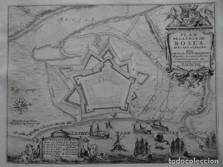 MAPA DE LA CIUDAD Y PUERTO DE ROSAS (GERONA, ESPAÑA), 1694. NICOLÁS DE FER (Arte - Cartografía Antigua (hasta S. XIX))