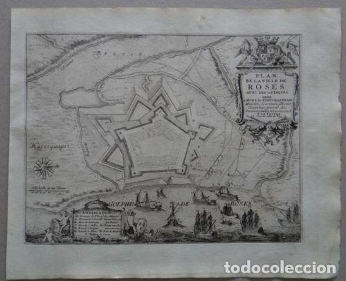 Arte: Mapa de la ciudad y puerto de Rosas (Gerona, España), 1694. Nicolás de Fer - Foto 2 - 139477938