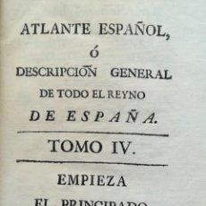Arte: MAPA DE CATALUNYA - LIBRO ATLANTE ESPAÑOL TOMO IV - AÑO 1781 - BERNARDO ESPINALT Y GARCIA. Lote 139535238