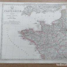 Arte: GRAN MAPA A COLOR DEL NOROESTE DE FRANCIA Y CANAL DE LA MANCHA PUBLICADO POR JUSTUS PERTHES EN 1866. Lote 139856326