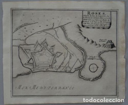 MAPA DE LA CIUDAD Y PUERTO DE ROSAS (GERONA, ESPAÑA),1695. NICOLÁS DE FER (Arte - Cartografía Antigua (hasta S. XIX))
