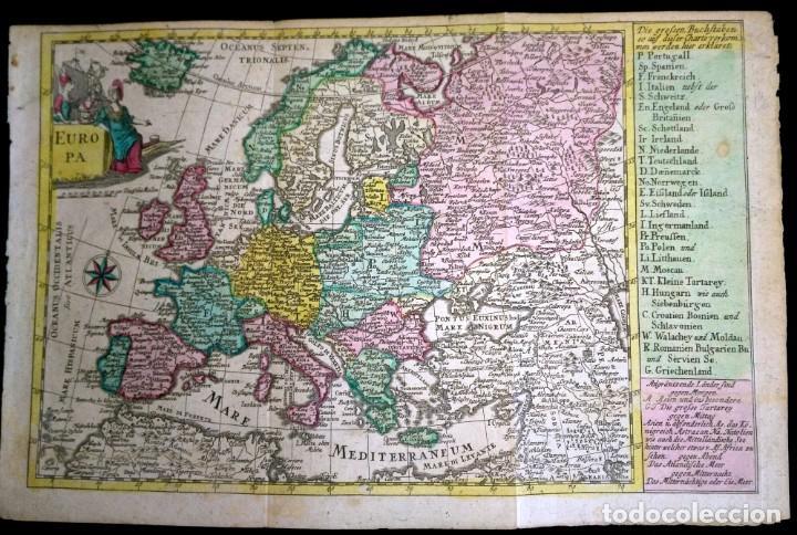 MAPA ANTIGUO EUROPA 1739 CON CERTIF. AUTENT. MAPAS ANTIGUOS DE EUROPA GENERAL (Arte - Cartografía Antigua (hasta S. XIX))