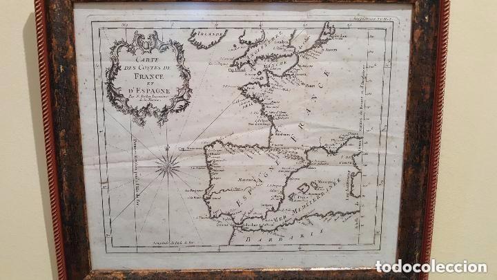 MAPA DE ESPAÑA S. XVIII, ORIGINAL, ENMARCADO DE NUEVO (Arte - Cartografía Antigua (hasta S. XIX))