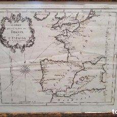 Arte: MAPA DE ESPAÑA S. XVIII, ORIGINAL, ENMARCADO DE NUEVO. Lote 140396046