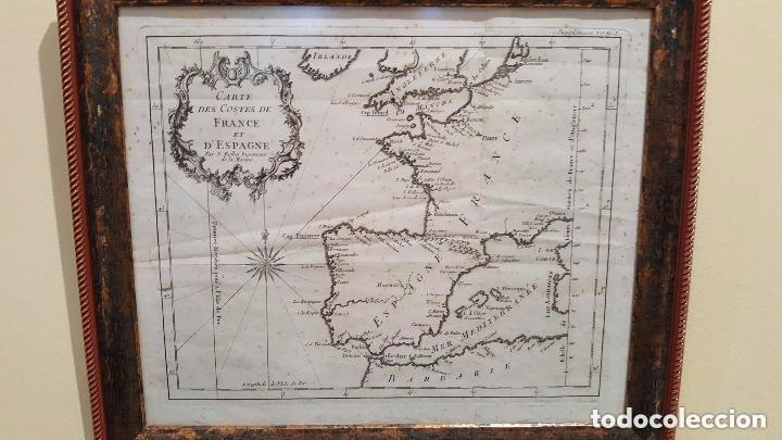 Arte: MAPA DE ESPAÑA S. XVIII, ORIGINAL, ENMARCADO DE NUEVO - Foto 2 - 140396046