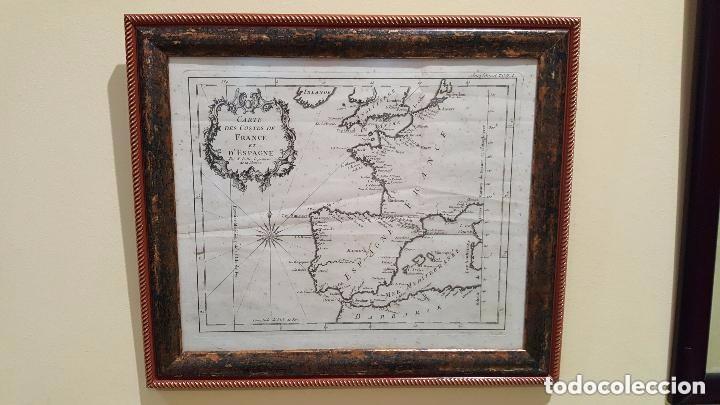 Arte: MAPA DE ESPAÑA S. XVIII, ORIGINAL, ENMARCADO DE NUEVO - Foto 3 - 140396046
