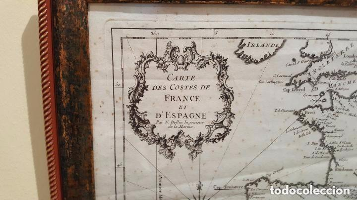 Arte: MAPA DE ESPAÑA S. XVIII, ORIGINAL, ENMARCADO DE NUEVO - Foto 4 - 140396046