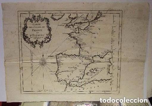 Arte: MAPA DE ESPAÑA S. XVIII, ORIGINAL, ENMARCADO DE NUEVO - Foto 7 - 140396046
