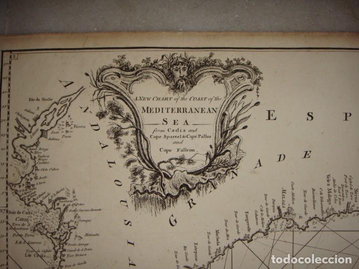 Arte: Grabado. Carta Naútica o Mapa de la Costa del Mar Mediterráneo. Cádiz. 1786 - Foto 3 - 140423762