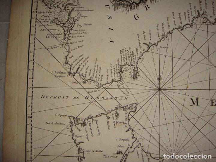 Arte: Grabado. Carta Naútica o Mapa de la Costa del Mar Mediterráneo. Cádiz. 1786 - Foto 4 - 140423762