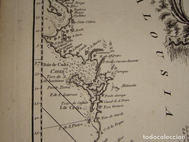 Arte: Grabado. Carta Naútica o Mapa de la Costa del Mar Mediterráneo. Cádiz. 1786 - Foto 5 - 140423762