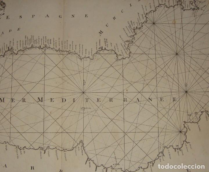 Arte: Grabado. Carta Naútica o Mapa de la Costa del Mar Mediterráneo. Cádiz. 1786 - Foto 6 - 140423762