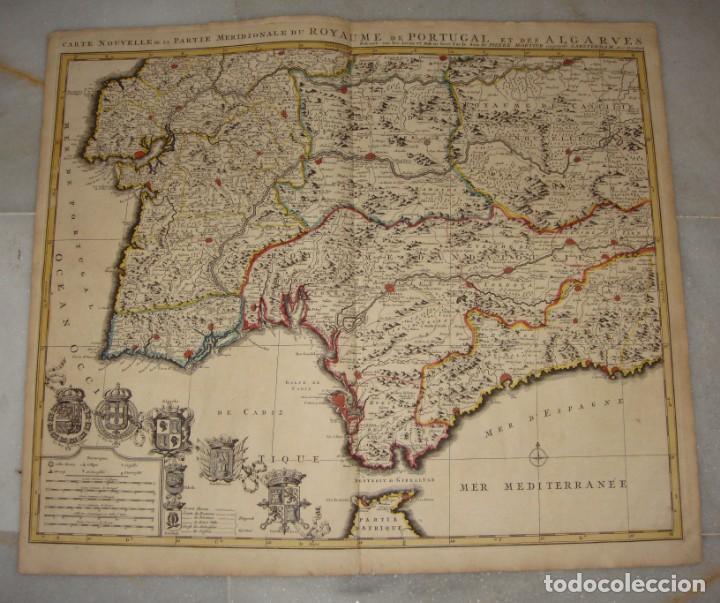 MAPA GRABADO DEL SUR DE ESPAÑA Y PORTUGAL, JOHANNES COVENS Y CORNELIS MORTIER, 1720-1772 (Arte - Cartografía Antigua (hasta S. XIX))