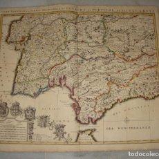Arte: MAPA GRABADO DEL SUR DE ESPAÑA Y PORTUGAL, JOHANNES COVENS Y CORNELIS MORTIER, 1720-1772. Lote 140719930