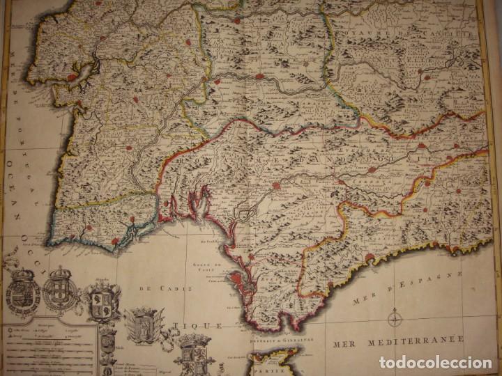 Arte: Mapa Grabado del Sur de España y Portugal, Johannes Covens y Cornelis Mortier, 1720-1772 - Foto 2 - 140719930