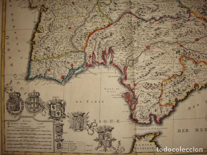 Arte: Mapa Grabado del Sur de España y Portugal, Johannes Covens y Cornelis Mortier, 1720-1772 - Foto 3 - 140719930