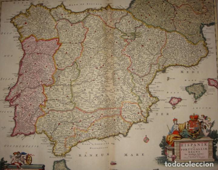 MAPA GRABADO DE ESPAÑA Y PORTUGAL. 1680. VISSCHER NICOLAS. HISPANIA ET PORTUGALLIAE REGNA. (Arte - Cartografía Antigua (hasta S. XIX))